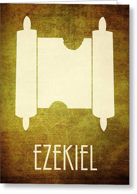Bible Character Greeting Cards - Ezekiel Icon Bible Minimal Art Greeting Card by Brett Pfister