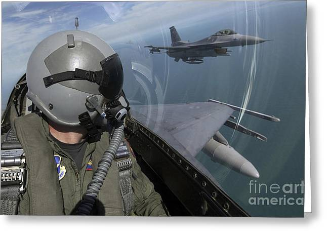 F-16 Fighting Falcons Flying Greeting Card by Stocktrek Images