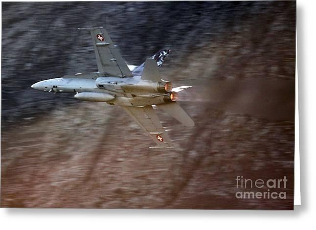 Superhornet Greeting Cards - F 18 Hornet Greeting Card by Angel  Tarantella