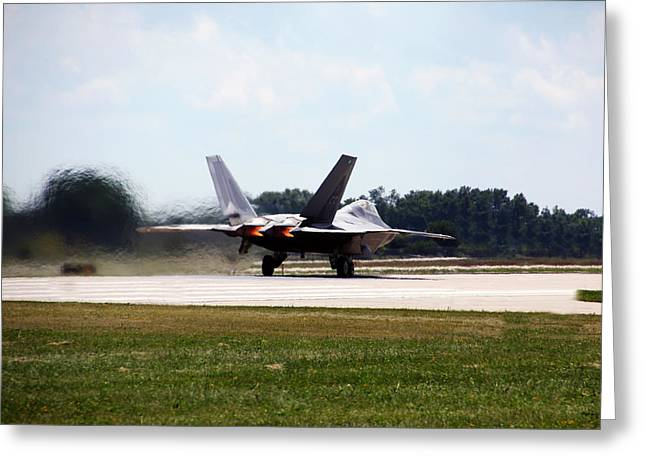 Fighters Greeting Cards - F-22 Ready and Waiting Greeting Card by Debbie Nobile