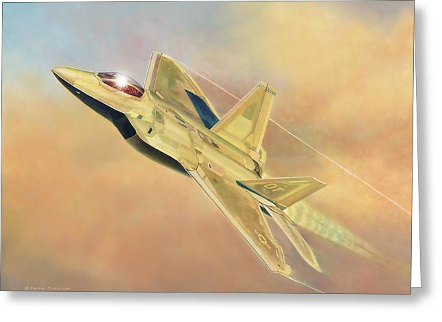 Military Airplanes Greeting Cards - F-22A Raptor Greeting Card by Douglas Castleman