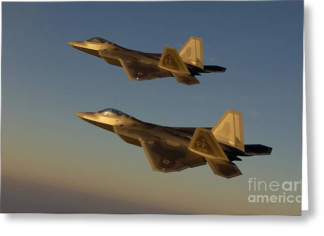 Stocktrek Images - Greeting Cards - F-22a Raptors Fly Over Langley Air Greeting Card by Stocktrek Images