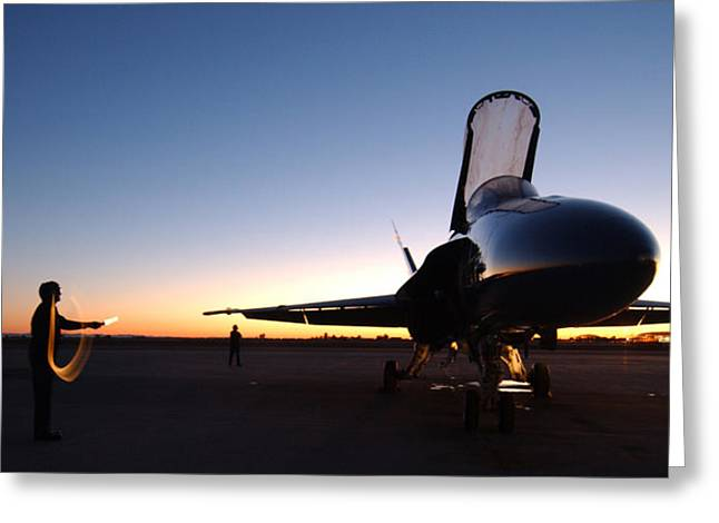 F-18 Paintings Greeting Cards - F A-18A Hornet US Navy Greeting Card by Celestial Images