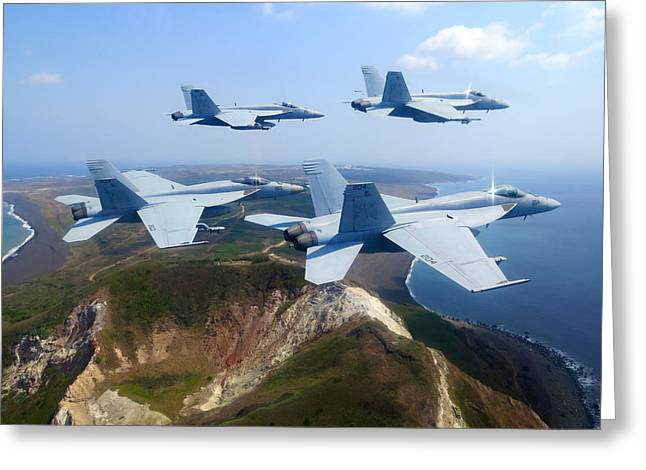 Training Mixed Media Greeting Cards - F A-18E Super Hornets  Greeting Card by Celestial Images