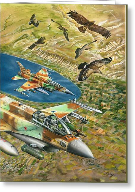 Air Jordan Mixed Media Greeting Cards - f- sixteen sufa and eagles over Jordan Valley Greeting Card by Tuvia Kurz