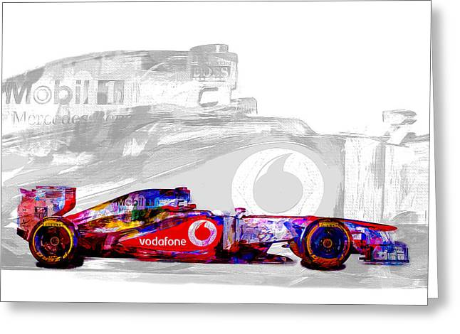 F1 Race Car Digital Painting Greeting Card by David Haskett