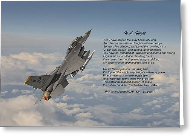 F16 - High Flight Greeting Card by Pat Speirs
