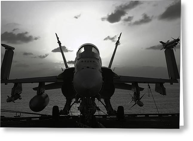 Fa-18 Greeting Cards - F A-18 SUPER HORNET on CARRIER Greeting Card by Daniel Hagerman