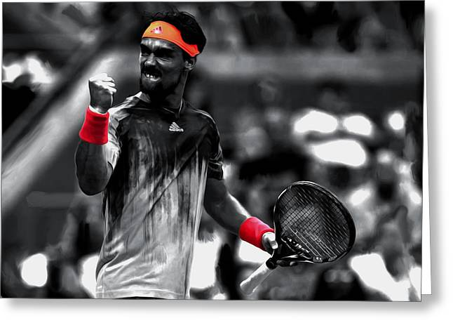 Us Open Mixed Media Greeting Cards - Fabio Fognini Greeting Card by Brian Reaves