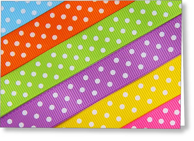 Straps Greeting Cards - Fabric Pieces with Polka Dots in Green and Orange and Yellow Color Greeting Card by Jelena Ciric