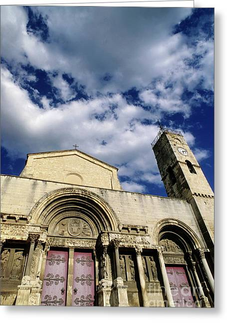 Facade Of A Benedictine Monastery In Saint-gilles Greeting Card by Sami Sarkis