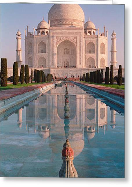 Taj Greeting Cards - Facade Of A Building, Taj Mahal, Agra Greeting Card by Panoramic Images