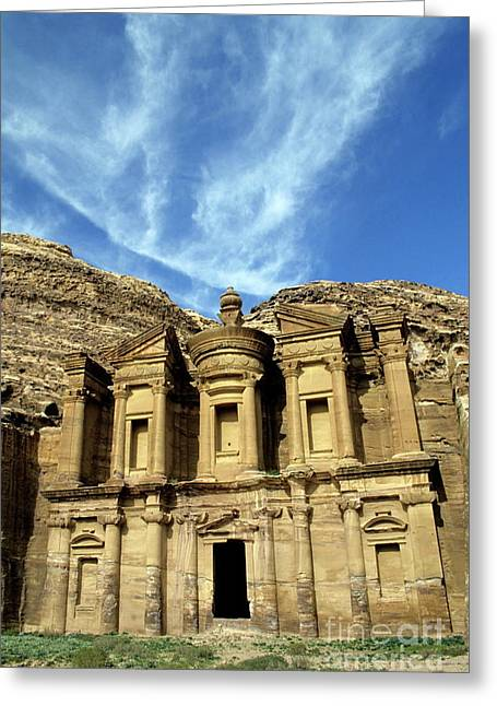 Petra Greeting Cards - Facade of Ad Deir an ancient rock-cut monastery in Petra Greeting Card by Sami Sarkis