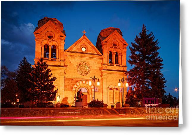 Prayer Of St. Francis Of Assisi Greeting Cards - Facade of Cathedral Basilica of Saint Francis of Assisi at Twilight- Santa Fe New Mexico Greeting Card by Silvio Ligutti