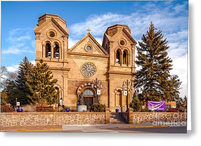 Sangre De Cristo Greeting Cards - Facade of Cathedral Basilica of Saint Francis of Assisi - Santa Fe New Mexico Greeting Card by Silvio Ligutti