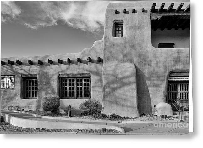 Taos Greeting Cards - Facade of New Mexico Museum of Art in Black and White - Santa Fe New Mexico Greeting Card by Silvio Ligutti
