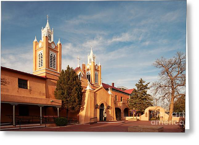 Old City Tower Greeting Cards - Facade of San Felipe de Neri Church in Old Town Albuquerque - New Mexico Greeting Card by Silvio Ligutti