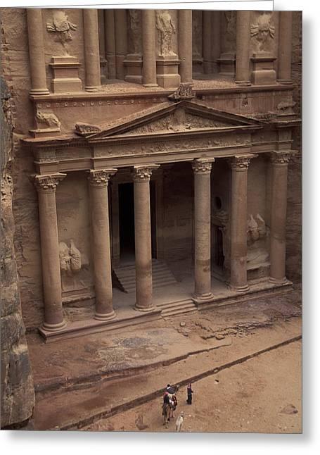 Jordan Art Greeting Cards - Facade Of The Treasury In Petra, Jordan Greeting Card by Richard Nowitz