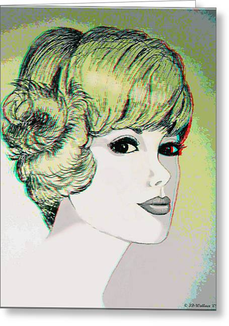 Pen And Ink Drawing Photographs Greeting Cards - Face - Use Red-Cyan 3D glasses Greeting Card by Brian Wallace