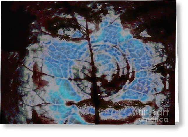 Abstractions Greeting Cards - Face Abstraction 61 Greeting Card by Devalyn Marshall
