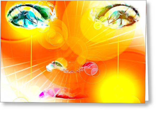Abstractions Greeting Cards - Face Abstraction 62 Greeting Card by Devalyn Marshall