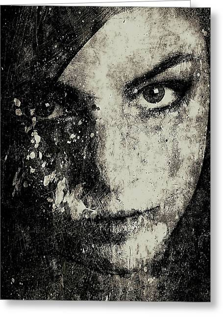 Face In A Dream Grayscale Greeting Card by Marian Voicu