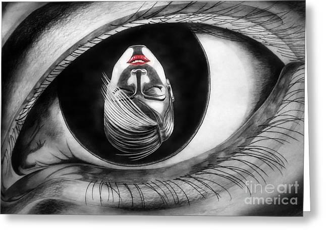 Eyelash Drawings Greeting Cards - Face in Eye Greeting Card by Stanislav Ballok