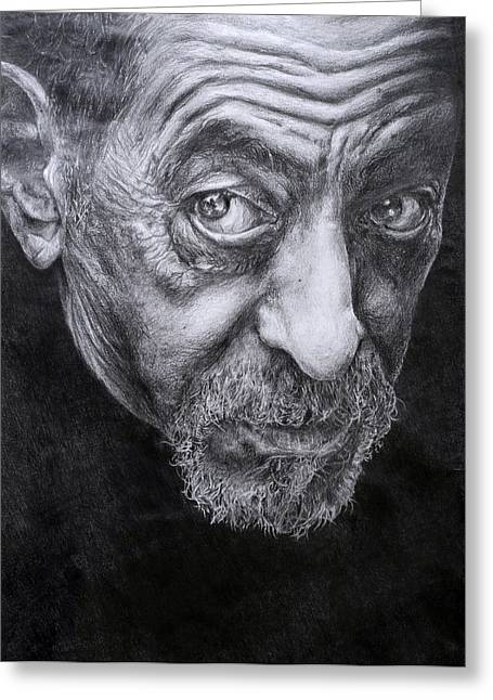 Photorealism Drawings Greeting Cards - Face Greeting Card by Joanna Woollett