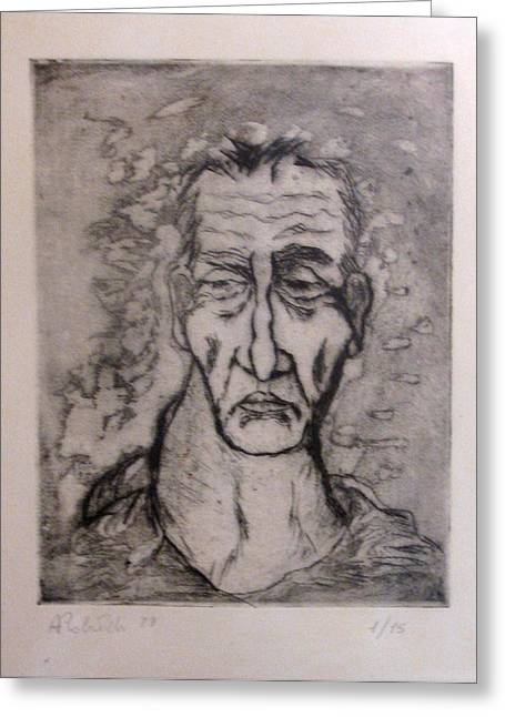 Recently Sold -  - Drypoint Greeting Cards - Face Marked By Fatigue Greeting Card by Alfonso Robustelli