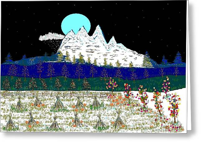 Etc. Paintings Greeting Cards - Face Mountain. Greeting Card by Richard Magin