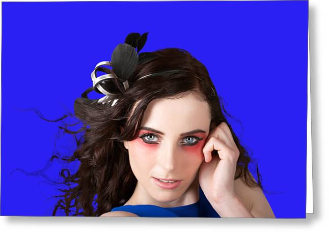 Face Of A Female Beauty With Red Eye Make Up Greeting Card by Jorgo Photography - Wall Art Gallery
