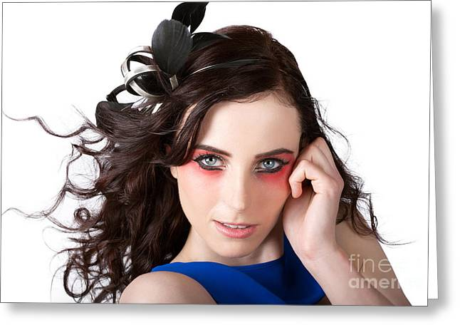 Eyebrow Greeting Cards - Face Of A Female Beauty With Red Eye Make Up Greeting Card by Ryan Jorgensen
