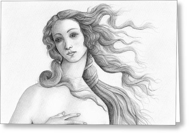 Goddess Birth Art Greeting Cards - Face of a goddess Greeting Card by Stevie The floating artist