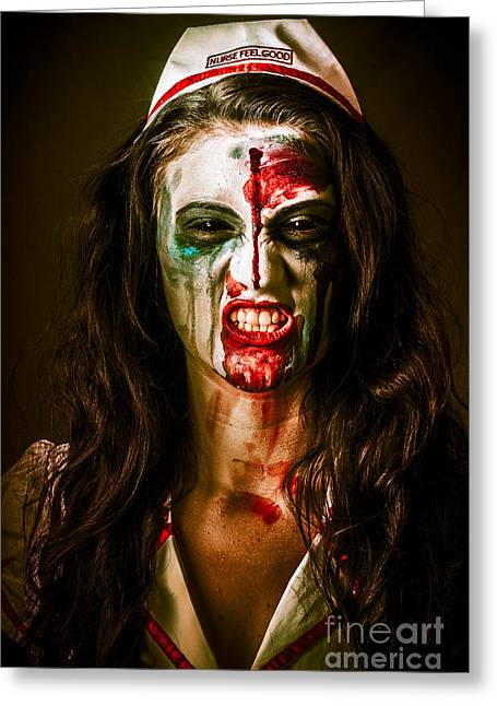 Face Of A Scary Woman In A Horror Nurse Costume Greeting Card by Jorgo Photography - Wall Art Gallery