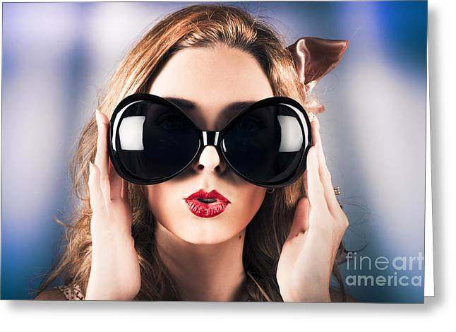 Face Of A Surprised Pinup Girl In Funny Sunglasses Greeting Card by Jorgo Photography - Wall Art Gallery