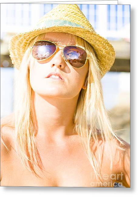 Going Forward Greeting Cards - Face Of A Woman In Sunglasses On Holiday Greeting Card by Ryan Jorgensen