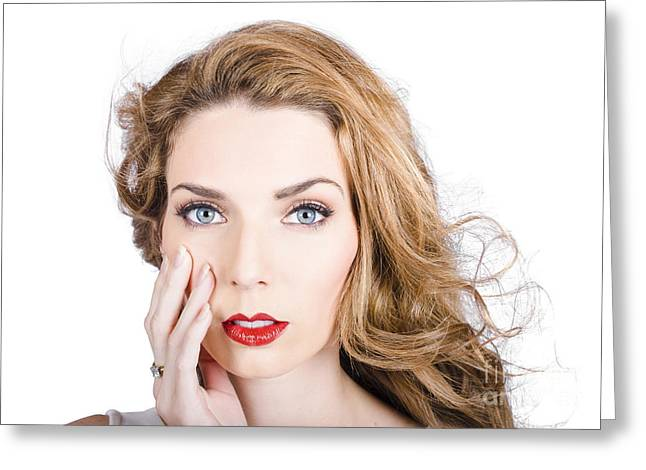 Sincerity Greeting Cards - Face of an attractive young girl. Cosmetic model Greeting Card by Ryan Jorgensen