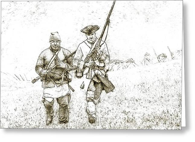French And Indian War Greeting Cards - Face of Danger Soldier Sketch Greeting Card by Randy Steele