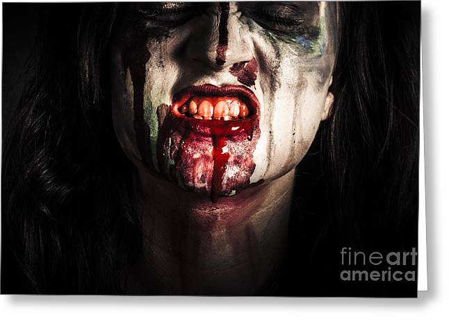 Face Of Dark Vampire Girl With Blood Mouth Greeting Card by Jorgo Photography - Wall Art Gallery