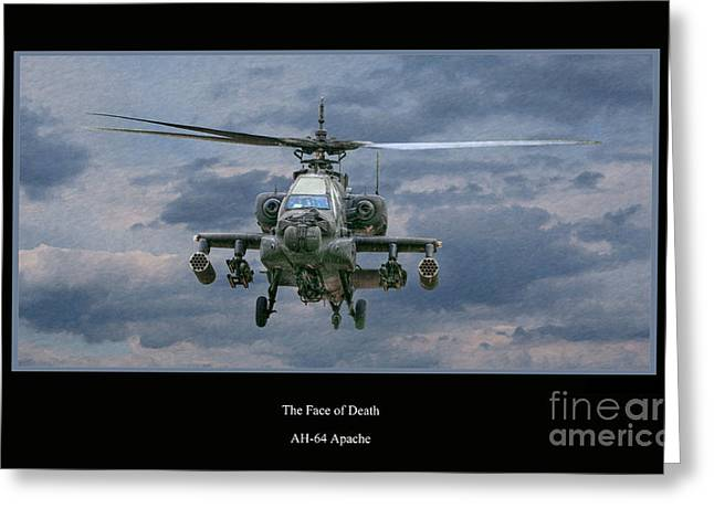 U.s Army Greeting Cards - Face of Death Ah-64 Apache Helicopter Greeting Card by Randy Steele