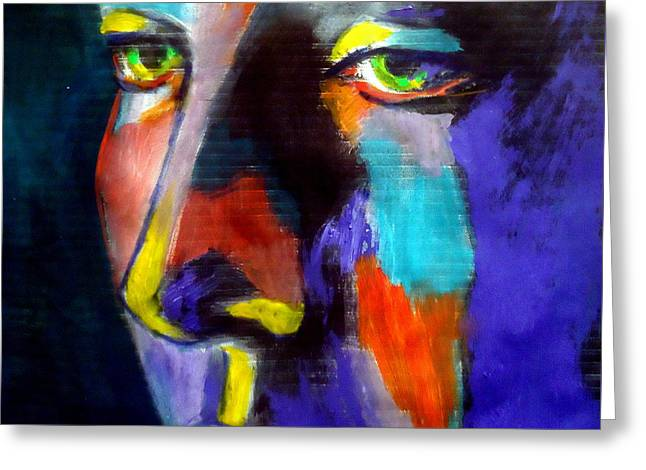 People Paintings Greeting Cards - Face of silence Greeting Card by Helena Wierzbicki