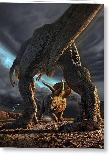 Prehistoric Digital Greeting Cards - Face Off Greeting Card by Jerry LoFaro