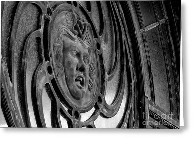 Asbury Park Carousel House Greeting Cards - Face on Casino carousel house Greeting Card by Ben Schumin