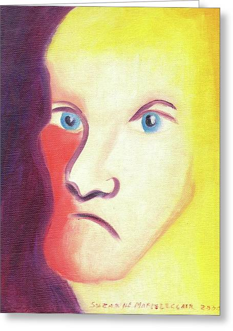 Face Greeting Card by Suzanne  Marie Leclair