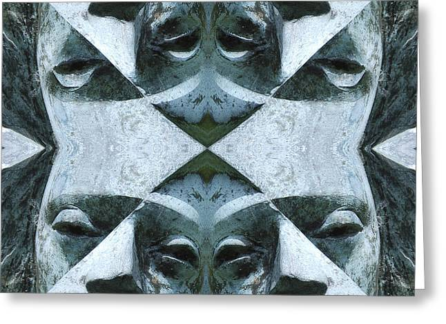 Geometrical Art Greeting Cards - Face to Face Greeting Card by Naomi Tebbs