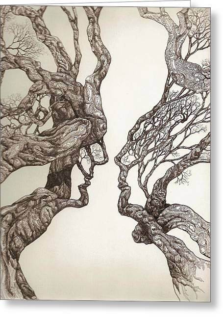 Pen And Ink Drawing Digital Art Greeting Cards - Face tree 11 Greeting Card by Brian  Kirchner