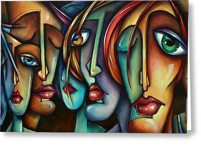 Expression Paintings Greeting Cards - Face Us Greeting Card by Michael Lang