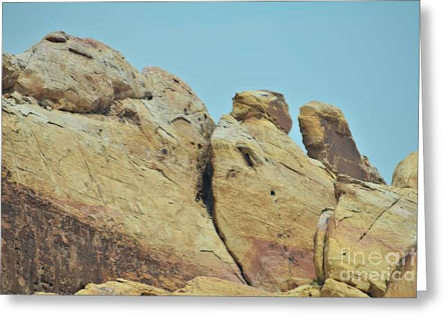 Boulders Tapestries - Textiles Greeting Cards - Faceoff Greeting Card by Edna Weber