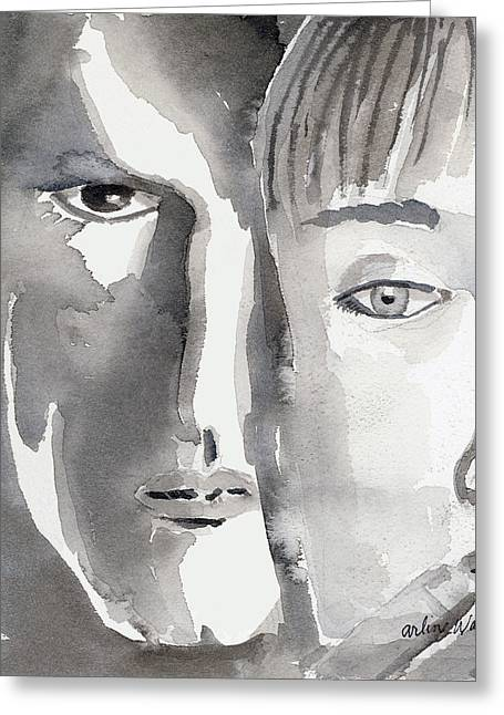 Monotone Paintings Greeting Cards - Faces Greeting Card by Arline Wagner