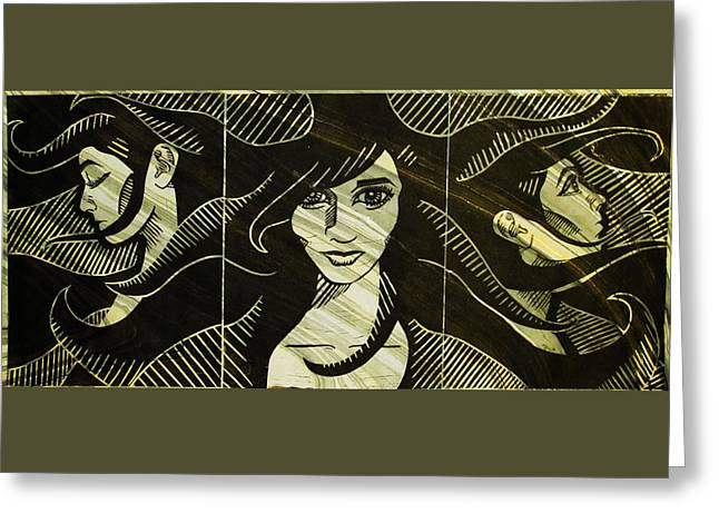 Lino Mixed Media Greeting Cards - Faces of Destiny Greeting Card by Alexis Mackay